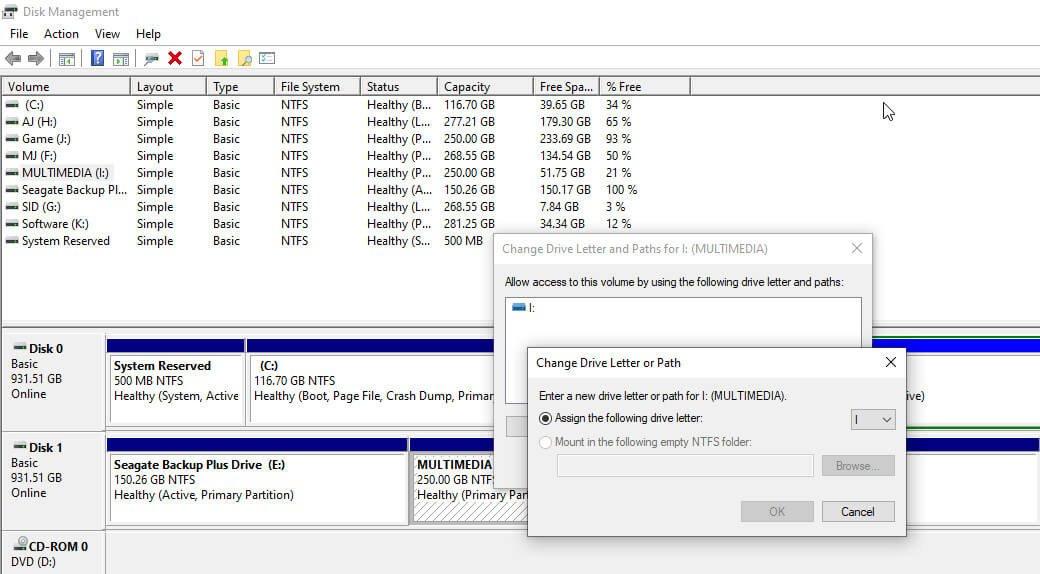 change path of hard drive