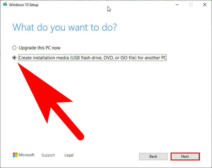 create windows 10 iso file