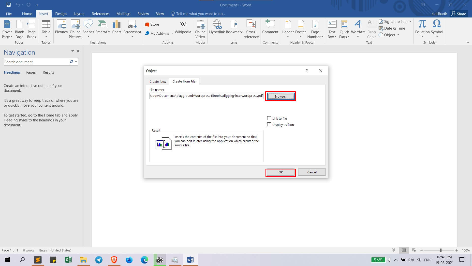 insert pdf file in word document