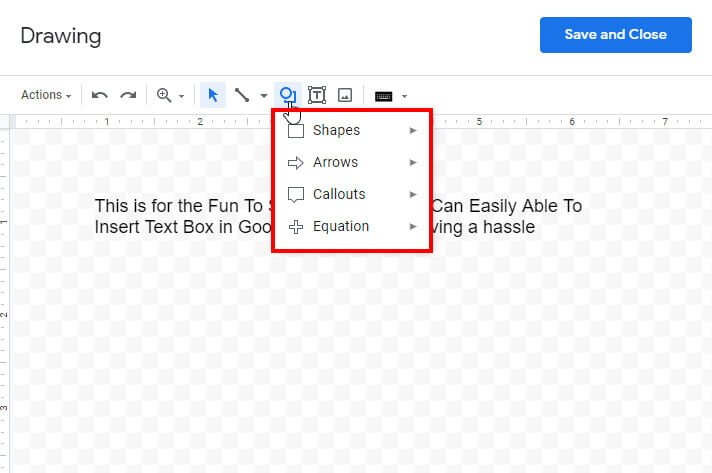 add shapes in google docs
