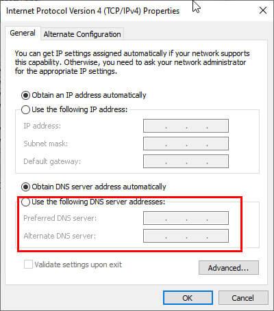 use following ip address