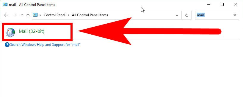 control panel mail